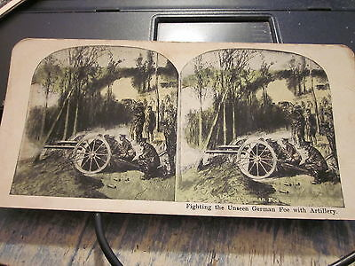 Stereoview Fighting the Unseen German Foe with Artillery WW 1