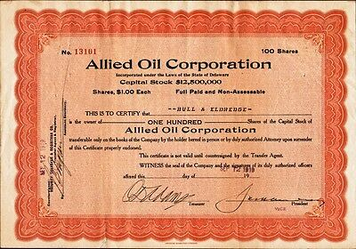 Allied Oil Corporation - 1919