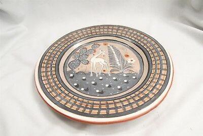 Vintage Tlaquepaque Mexican Fantasia Burnished Pottery Charger
