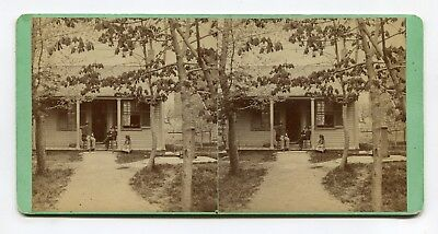 Brunswick, Maine Stereoview Dr Lincoln Sitting on Porch Outside His Office