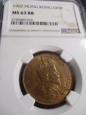 INV #S64 Hong Kong 1902 Cent NGC MS-63 Red Brown