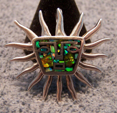 Wonderful Mexico Sterling Inlay Opal Sun Pin Pendant GREAT Fire!!!