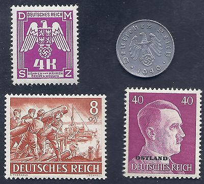 Nazi Germany 3rd Reich 1940 A 5 Rpf Swastika Coin & Hitler WW2 ERA Stamp Lot #c1