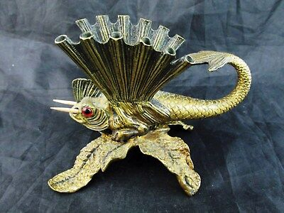 Early Figural Heavy Gilt Brass TOOTHPICK HOLDER~~FLYING FISH!