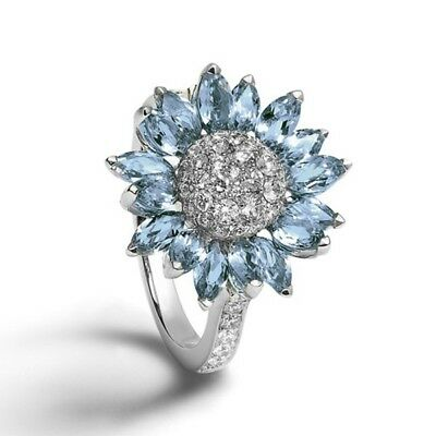 Women's Fashion 925 Silver White Sapphire Flower Ring Wedding Cluster Jewelry