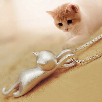 925 Silver Women's Jewelry Kitten Necklace 3D Brushed Running Cat Pendant Party