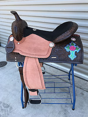 """16"""" West Coast Antique barrel style saddle With Berry Conchoes"""