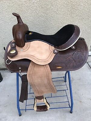 """16"""" West Coast Leather Rough Out Western Please Trail Saddle  FQB!!"""