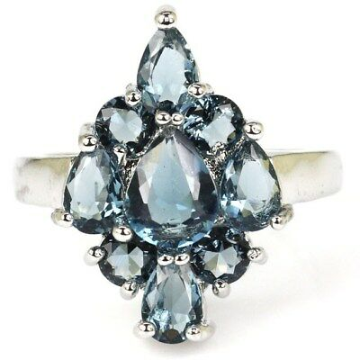 Beautiful London Blue Topaz SheCrown Woman's Party Silver Ring 9.25 #