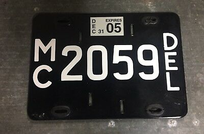 Delaware Porcelain Motorcycle License Plate Tag Black White MC 2059