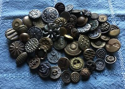 56 Antique Vintage Metal Buttons - Great Assorted Old Lot