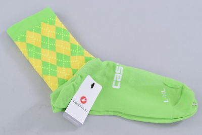 NEW Cannondale Pro Cycling Green Argyle Rosso Corsa 13 Socks Castelli Large XL