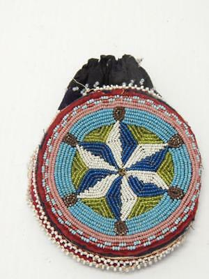 ANTIQUE CREE PLAINS INDIAN BEADED DBL SIDED BAG / POUCH  - c.1860-90s - FINE !