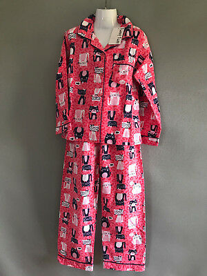 BNWT Girls Sz 6 Tweet Twoo Pink Cat Long Warm Flannel Winter Style PJ Pyjamas