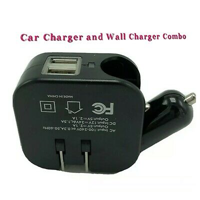 USB Wall & Car Combo Charger 2.1A 2 in 1 Dual Port USB Car Charger & Home Travel