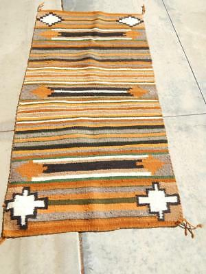 Vintage Navajo Indian Burntwater Double Saddle Blanket  Rug / Weaving - Nice !