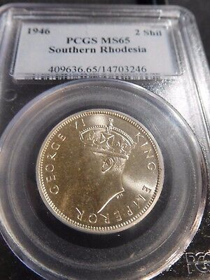 British Southern Rhodesia 1946 2 Shilling PCGS MS-65 FINEST KNOWN & KEY DATE