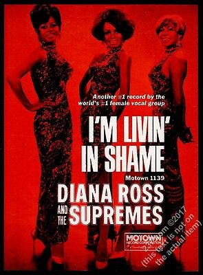 1969 Diana Ross and The Supremes photo I'm Livin In Shame GREAT music trade ad