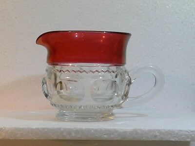 Tiffin-Franciscan King's Crown Cranberry Flashed Creamer