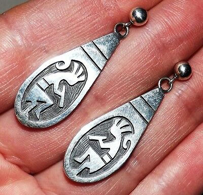 STERLING SILVER Navajo/Hopi Thick Kokopelli Dangle Earrings - GORGEOUS, SIGNED!