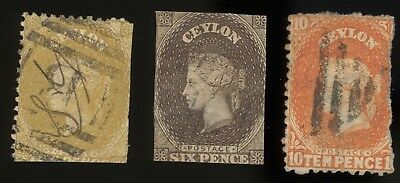 CEYLON, 3 Classic 19th century Stamps, with faults