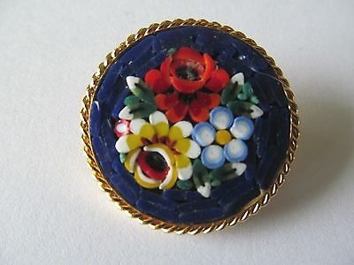 Italian Micro Mosaic Cobalt Blue & Multi-Tones Of Floral Tiles Gold Brooch Pin