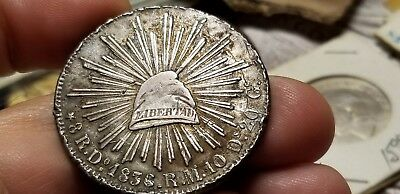 Republic Of Mexico 1836 Do 8 Reales Cap & Rays