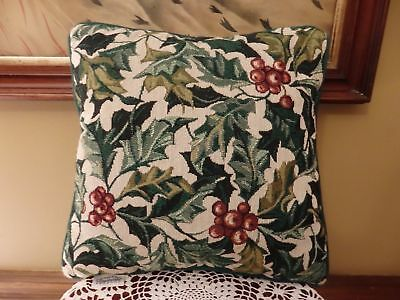 Rare Longaberger Christmas American Holly Throw Pillow ~Beautiful!