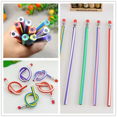 5PCS Colorful Magic Bendy Flexible Soft Pencil With Eraser For Kids Writing New