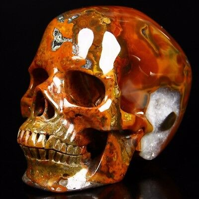 """Top Quality Huge 4.4"""" EMPIRE RED AGATE Carved Crystal Skull,Super Realistic,#106"""