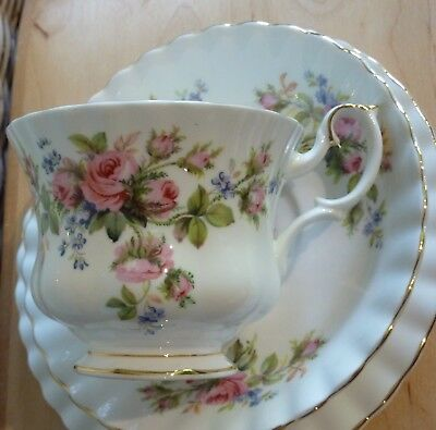 "ROYAL ALBERT ""MOSS ROSE"" Bone China Cup, Saucer & Plate  ---  Made in England"