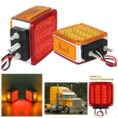 2X Square Dual Face Stud Mount Cab Fender Amber/Red Brake/Turn Signal/Tail Light