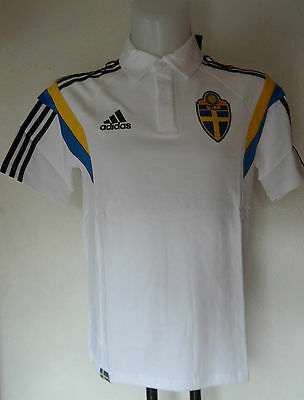 Sweden Football S/s White Polo Shirt By Adidas Size Adults Medium Brand New