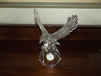 """Beautiful"" RCR Crystal ""Eagle"" Clock Ornament Working - VGC NO BOX"