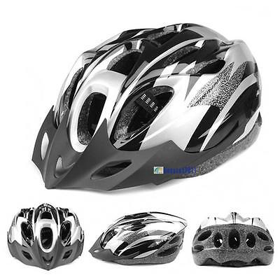 Mens Adult MTB Bike Bicycle Cycling 18 Holes Safety Helmet With Visor Black SS