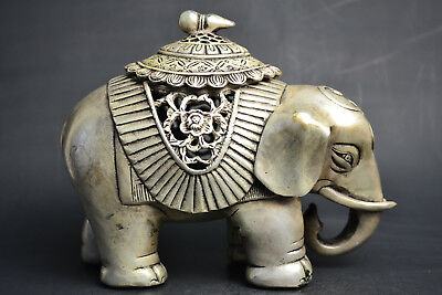 Collectible Decor Old Tibet Silver Elephant Theme Hollow Out Incense Burner