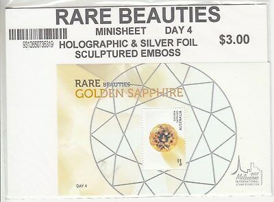 2017 Melbourne Rare Beauties: Golden Sapphire day 4, miniature sheet.MUH.Cheap