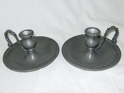 Vintage Chamber Sticks Pair, Pewter, Twisted Scroll Handles, Metalars, Patinated