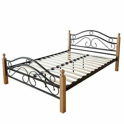 Double Metal Bed Frame Standard Size Modern Luxury 140x200 Black