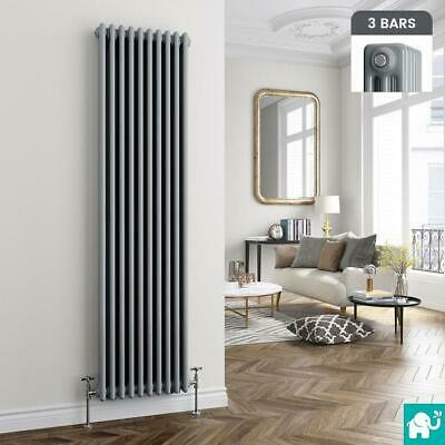 Traditional Earl Grey Triple Panel Vertical Column Radiator - 1800 x 468mm