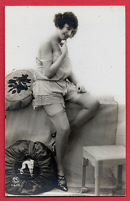 """MODEL IN HER LINGERIE by """"PC PARIS"""" :Orig. Real Photographic postcard ca.1920"""