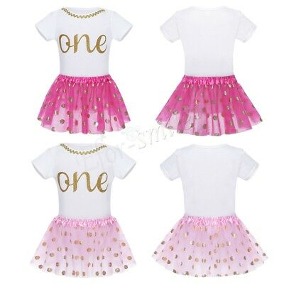 Baby Girls Fist Birthday Tutu Dress Outfit New 1st Party Romper Jumpsuit Clothes