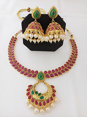 New Indian Fashion Jewelry Antique Necklace Set Bollywood Ethnic Gold Plated Set