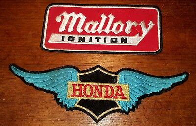 Vtg 1970's Honda Motorcycle Racing XL Jacket Patch Wings & Old Mallory Ignition