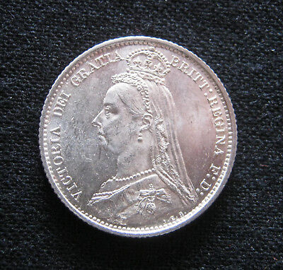 1887 Victoria Jubilee Head Silver Sixpence, Withdrawn Type, GEF