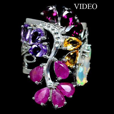 Awesome! Natural! Pink Ruby, Amethyst, Citrine, Opal..925 Silver Ring Size5.5