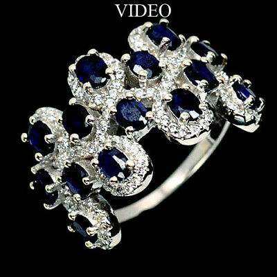 Excellent! Natural! Deep Blue Sapphire & White Cz..925 Silver Ring Size7.75