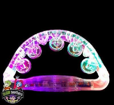 4 x LED FLASHING TAMBOURINE,MUSICAL,INSTRUMENT,PERCUSSION,FESTIVAL,TAMBORINE
