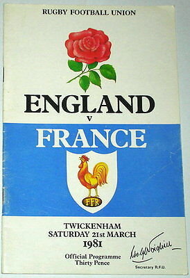 England France Rugby Union Programme 1981 15 England Autographs