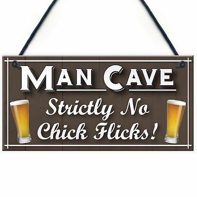 Man Cave No Chick Flicks Funny Husband Gift Beer Hanging Plaque Home Bar Sign
